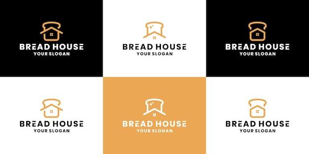 Bundel broodhuis, bakkerijhuis logo-ontwerp voor restaurantvoedsel
