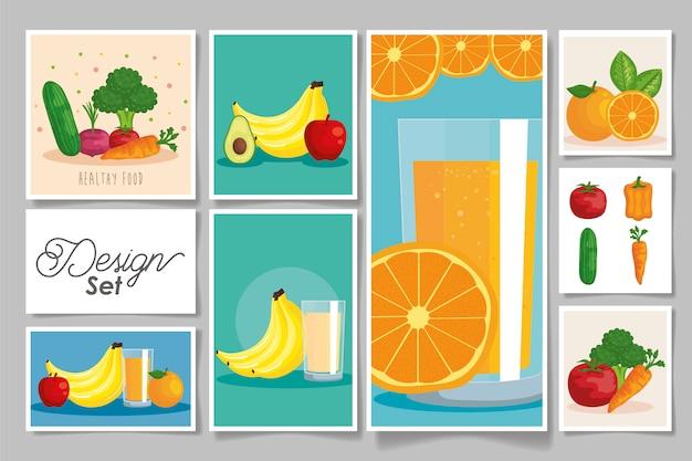 Bundel gezonde groenten en fruit