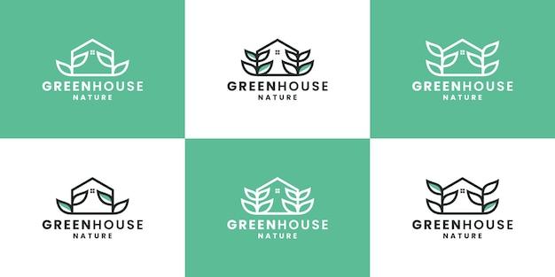 Bundel groen huis, natuurhuis, blad logo ontwerpsjabloon