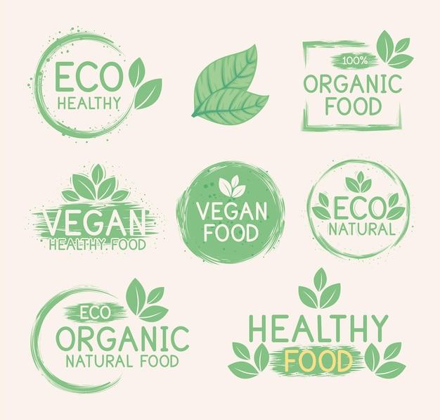 Bundel groene etiketten