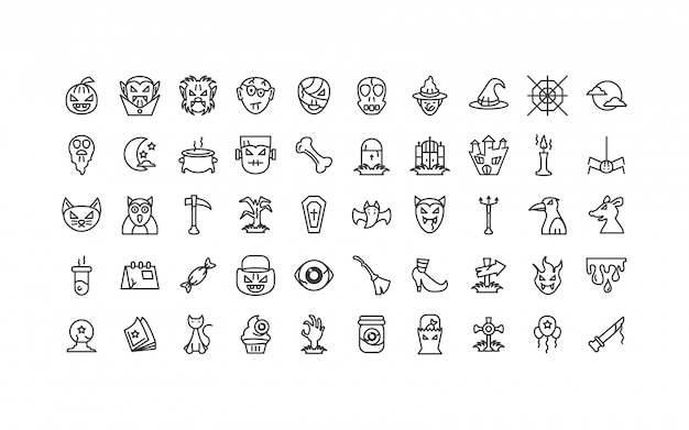 Bundel halloween met set van pictogrammen