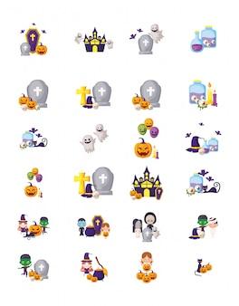 Bundel halloween met vastgestelde pictogrammen