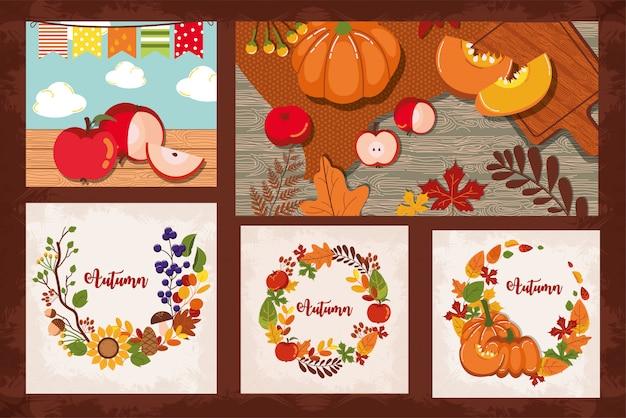 Bundel herfstkaarten seizoensgebonden