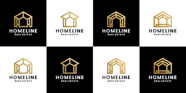 Bundel huis, huis, onroerend goed logo ontwerp lijnstijl