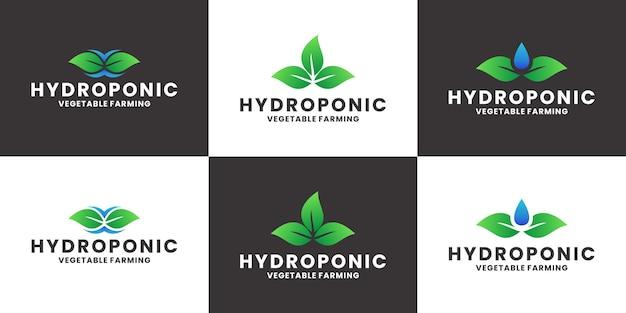 Bundel hydrocultuur logo ontwerp vector landbouw