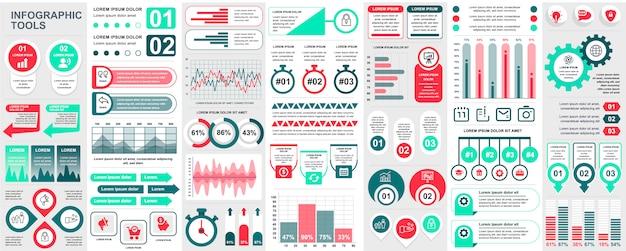 Bundel infographic ui, ux, kit-elementen met grafieken, diagrammen, workflow, stroomdiagram, tijdlijn, online statistieken, marketing iconen elementen sjabloon. infographics instellen.