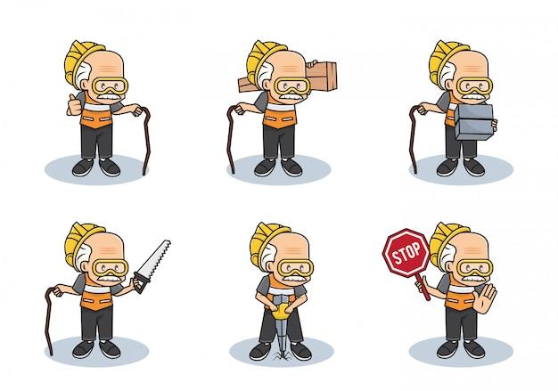 Bundel instellen illustratie van oude werkende opa of professionele veiligheid man bouw karakter met verschillende activiteiten.