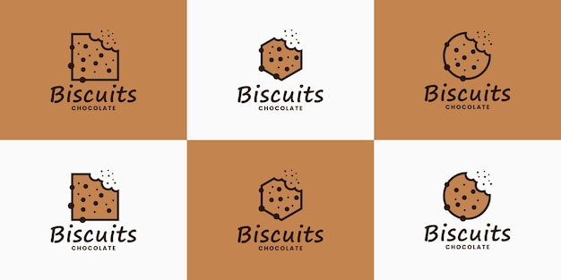 Bundel koekjes logo ontwerp vector voor food restaurant culinair
