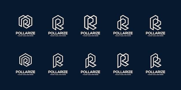 Bundel lijn monogram eerste letter r logo sjabloon.