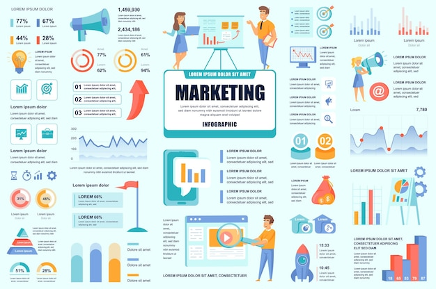 Bundel marketing en promo infographic ui-, ux-, kit-elementen