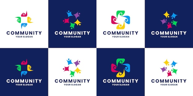 Bundel menselijke, mensen, teamgroep community logo-ontwerpsjablonen