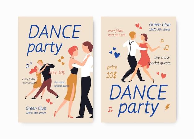 Bundel met flyer- of postersjablonen voor choreografieschool of -studio, dansfeest, show of uitvoering met paren elegante mannen en vrouwen die tango dansen. platte cartoon kleurrijke vectorillustratie.