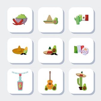 Bundel mexicaanse traditionele set pictogrammen