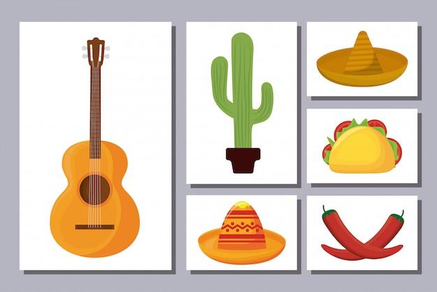 Bundel mexicaanse traditionele set pictogrammen