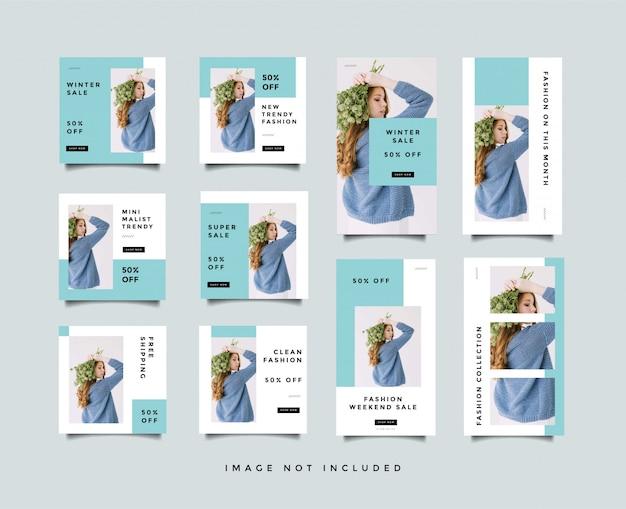 Bundel minimalistische sociale media post & instagram verhalen ontwerpsjabloon
