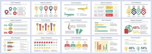 Bundel reizen vakantie infographics presentatie dia's sjabloon