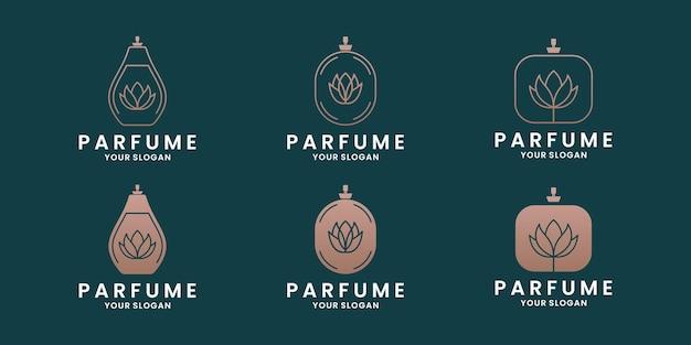 Bundel schoonheid elegantie parfum logo-ontwerp met gouden kleur