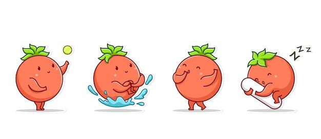 Bundel set emoticon en pictogram gebaar schattig karakter groenten van tomaat
