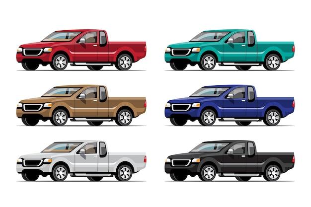 Bundel set van multi color pick-up truck op witte achtergrond