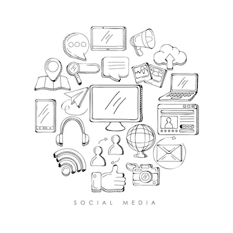 Bundel social media set iconen