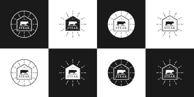 Bundel steak house logo ontwerp badge vintage retro stijl