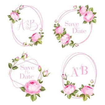 Bundel uitnodiging ontwerp met rozen. verzameling van wenskaarten.