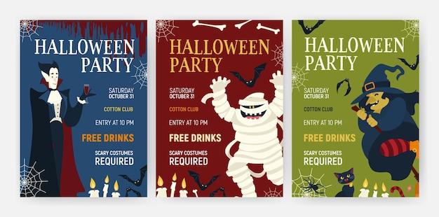 Bundel vakantie-flyer- of postersjablonen met halloween-personages - vampier die bloed drinkt, mummie, heks en kat. vectorillustratie voor feestaankondiging, advertentie voor vakantie-evenementen of promo.