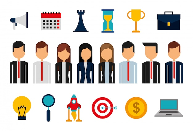 Bundel van avatars en benodigdheden voor zakenmensen