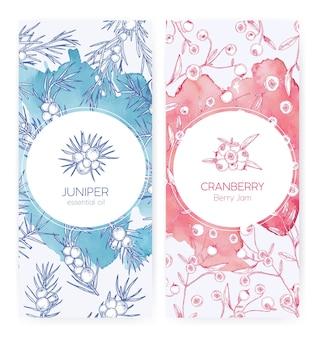 Bundel van bannermalplaatjes met jeneverbes en veenbessen getekend met contourlijnen op roze en blauw