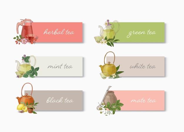 Bundel van bannermalplaatjes met verschillende soorten thee, theepotten, kopjes, bladeren, bloemen en plek voor tekst
