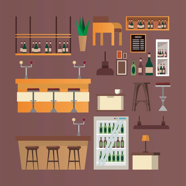 Bundel van bar en restaurant forniture pictogrammen