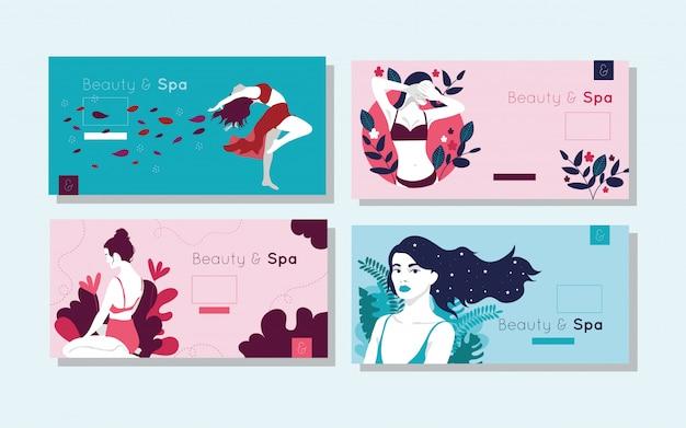 Bundel van beauty- en spa-kaarten met vrouwenfiguren
