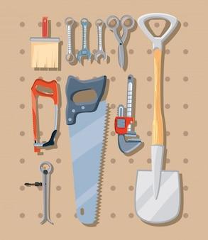 Bundel van bouwgereedschap
