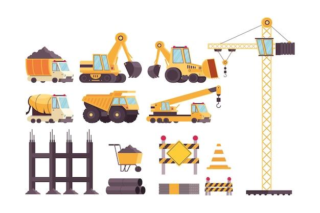 Bundel van bouwvoertuigen en gereedschappen