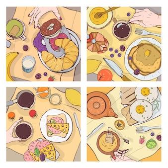 Bundel van bovenaanzichten van opgediende ontbijtmaaltijden, heerlijk eten, zoete desserts en handen van mensen die het eten
