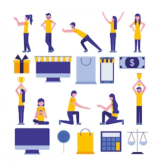 Bundel van community en social media marketing iconen