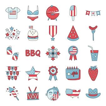 Bundel van de pictogrammen van de vs van de onafhankelijkheidsdag