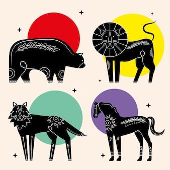 Bundel van dieren hedendaagse silhouetten natuur iconen