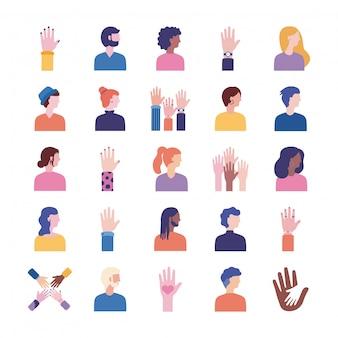 Bundel van diversiteitsmensen stellen pictogrammen