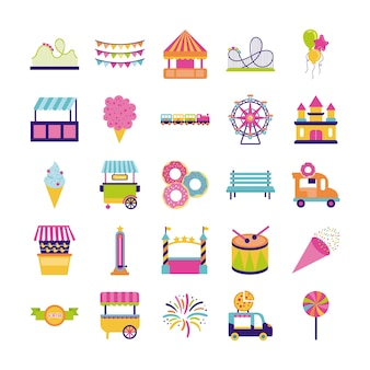Bundel van eerlijk entertainment decorontwerp iconen vector illustratie