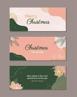 Bundel van elegante banner modern merry christmas trendy vakantieontwerp voor post op sociale media