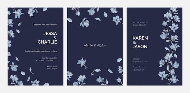 Bundel van elegante sjablonen voor save the date-kaart of bruiloft uitnodiging met prachtige magnolia boomtakken en bloemen hand getekend met contouren op donkere achtergrond. realistische afbeelding.