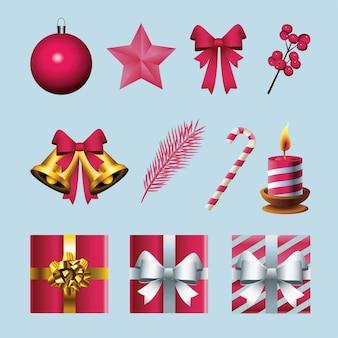 Bundel van elf gelukkige vrolijke illustratie van kerstmispictogrammen