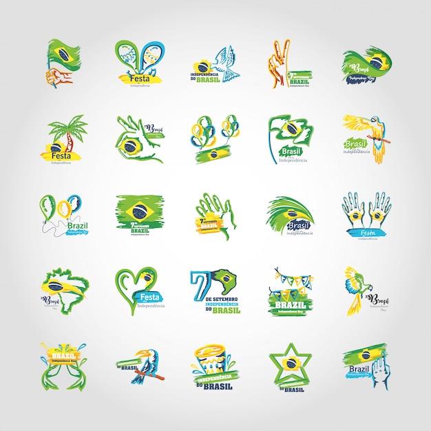 Bundel van emblemen van de onafhankelijkheidsdag van brazilië