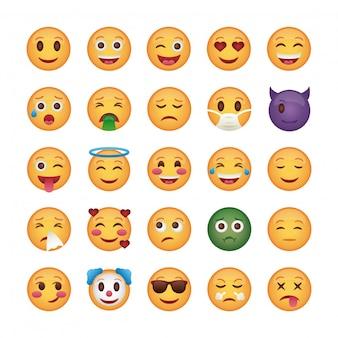 Bundel van emoji's gezichten set pictogrammen