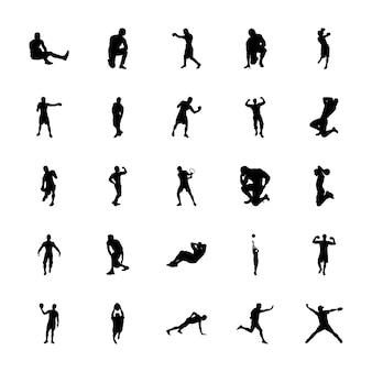 Bundel van fitness oefening silhouetten vectoren