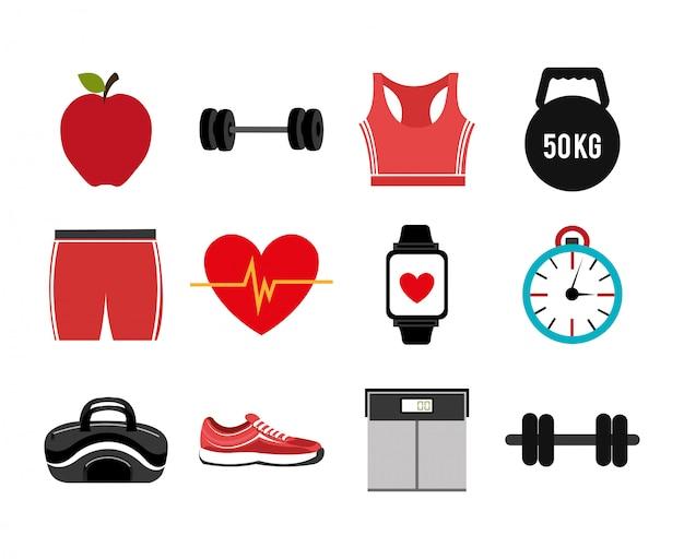 Bundel van fitness set pictogrammen