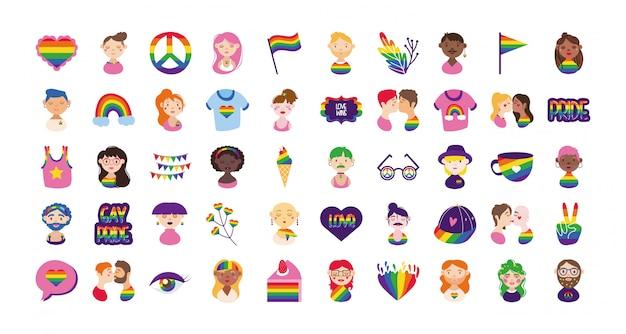 Bundel van gay pride-pictogrammen en mensenhand tekenen stijl