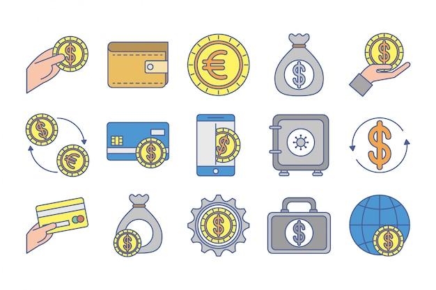 Bundel van geldwisselpictogrammen