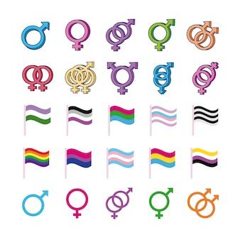 Bundel van geslachten symbolen van seksuele geaardheid en vlaggen multy stijl iconen vector illustratie ontwerp